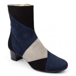 Bottines tricolore, daim noir bleu et gris, Boogie-Woogie