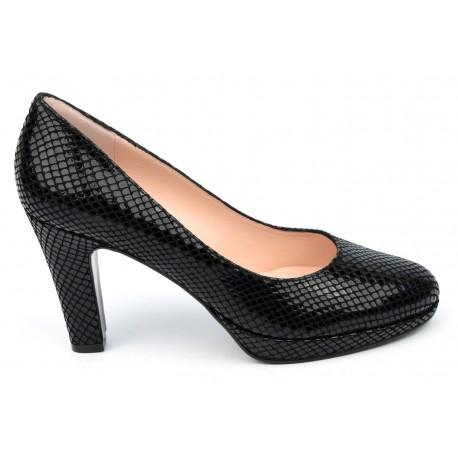 Escarpins cuir lisse motif serpent noir, Glam-Rock