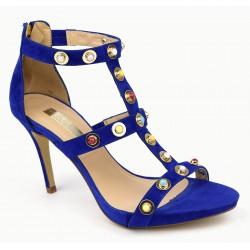 Sandales cuir daim bleu et perles colorées, POP