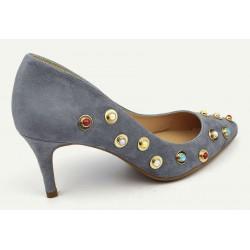 Escarpins MARIAN, cuir Daim gris bijoux perles, Makumba