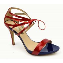 Sandales MARIAN, cuir venis bicolore rouge/bleu, Kompa