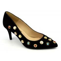 Escarpins MARIAN, cuir Daim noir bijoux perles, Makumba