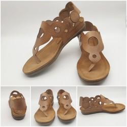 Sandales cuir mate marron grainé, Makossa