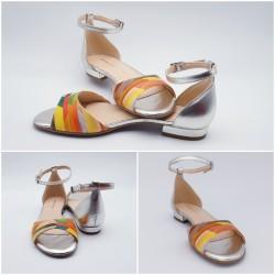 Sandales plates, cuir multicolore et argent, Kuduro