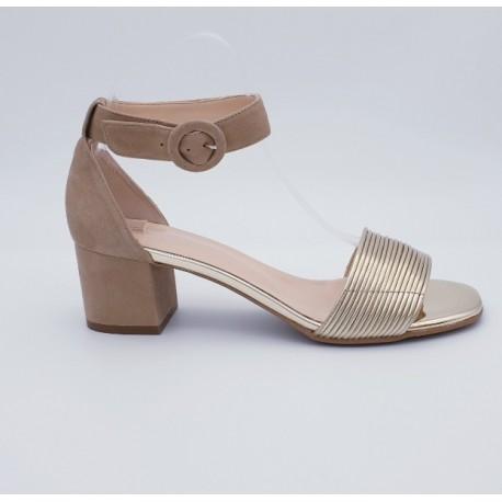 Sandales bi-matière cuir lisse et cuir daim, Odissi
