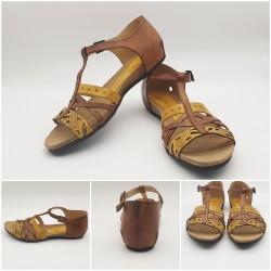 Sandales cuir à brides croisées bicolore marron et jaune moutarde, Murga