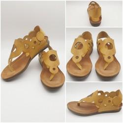 Sandales cuir mate jaune moutarde grainé, Makossa